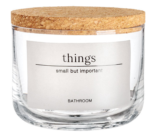 Malá sklenená dóza, korkový vrchnák, výška 7 cm, priemer 8 cm, 9,99 €, H&M Home
