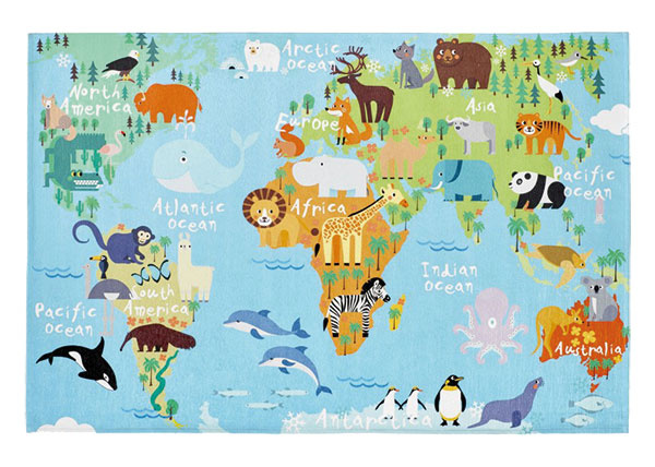 Koberec Torino kids 233 world map, rozmery 80 × 120 cm, tkaný jaquard/polyester chenille, 39,36 €, www.kobercovo.sk