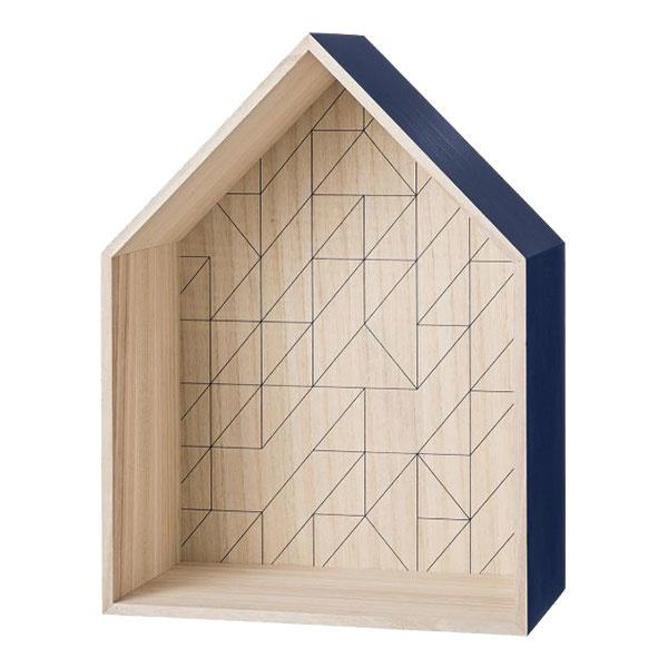 Nástenná polička Navy blue house, rozmery 35 × 47 cm, hĺbka 19,5 cm, 70,56 €, www.bellarose.sk
