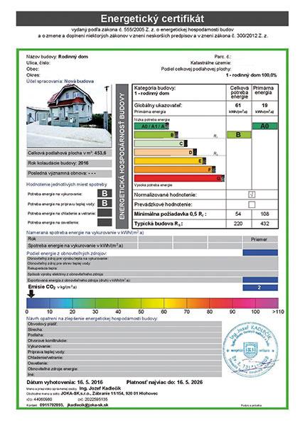 Energetický certifikát rodinného domu vykurovaného peletovým kotlom. (zdroj: Isover)