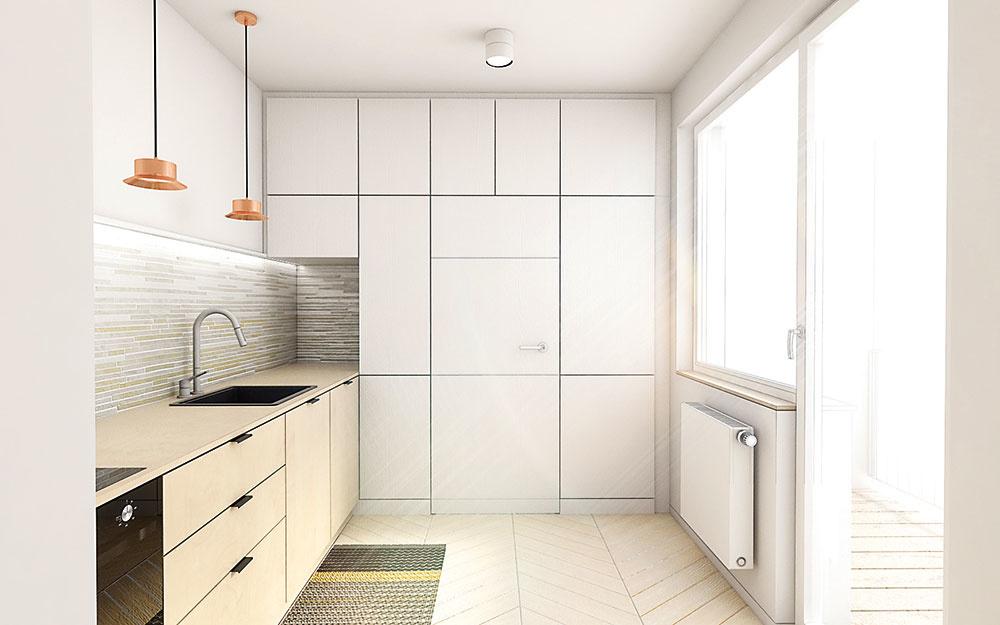 Jednoduchá a funkčná kuchyňa kombinuje farby a materiály použité v celom byte. Vysoká zostava skriniek zároveň šikovne ukrýva vstup do spálne.