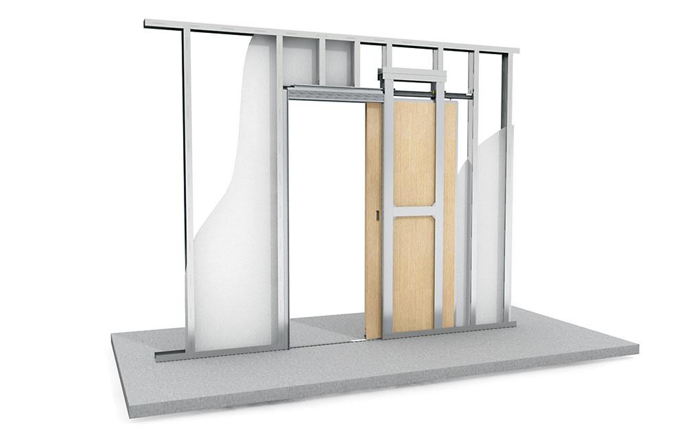Systém pre posuvné dvere Knauf Pocket Kit je určený do sadrokartónových priečok. Montáž je rýchla ajednoduchá, na rozdiel od tradičných puzdier ju zvládne len jeden človek. Čierna horná vodiaca lišta je diskrétna aestetická aj pri otvorených dverách. www.knauf.sk