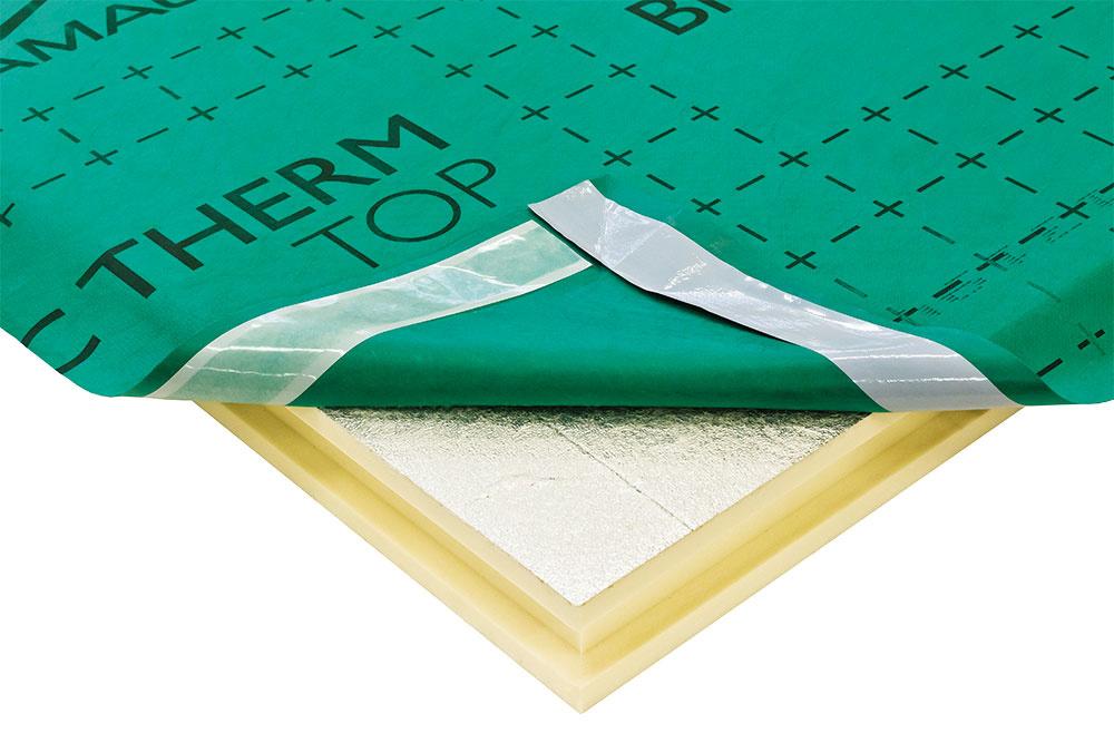 Bramac Therm TOP  Účinná izolačná doska ztvrdej PIR peny obojstranne opatrená hliníkovou fóliou ana hornej ploche kašírovanou fóliou pre poistnú hydroizoláciu zpolypropylénu. Je využiteľná najmä pri novostavbách, ato buď samostatne bez použitia medzikrokvovej izolácie, alebo ako doplnok ku medzikrokvovej izolácii. Pri jej použití je zároveň potrebné použiť ikvalitnú parotesnú fóliu. Veľkou výhodou je jej rýchla montáž – pokládkou dosky sa nahradia 3 úkony – debnenie, tepelná izolácia astrešná fólia. www.bramac.sk