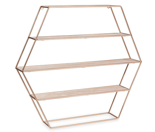 Nástenná skrinka s policami v tvare hexagónu, meď, drevo, 45 × 55 × 9 cm, 31,27 €, www.maisonsdumonde.com