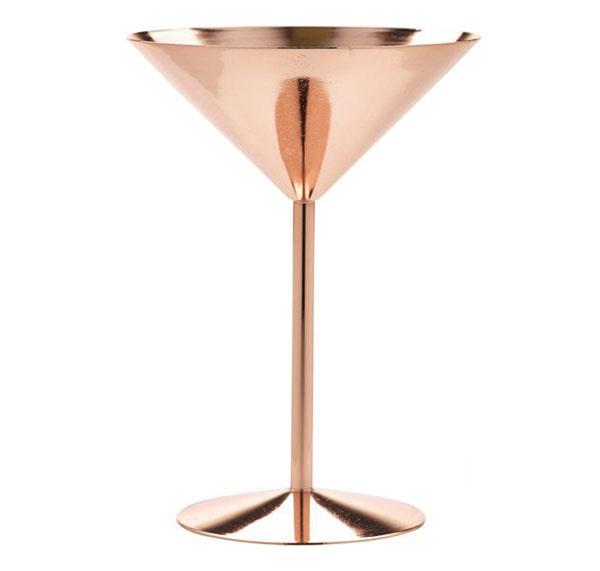 Kokteilový pohár na martini, nehrdzavejúca oceľ s medeným povrchom, 13,50 €, www.partymaker.sk