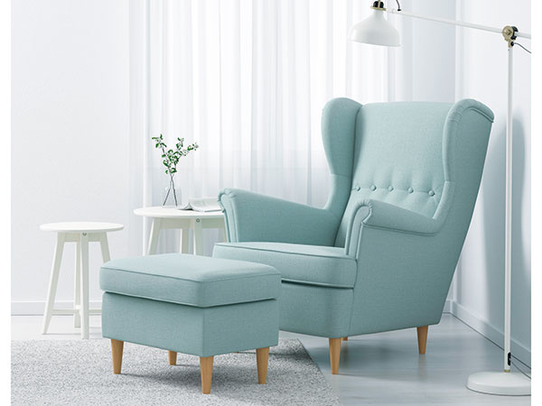 Kreslo Strandmon, drevo, preglejka, drevotrieska, polyester, 82 × 96 × 101 cm, 159 €, IKEA