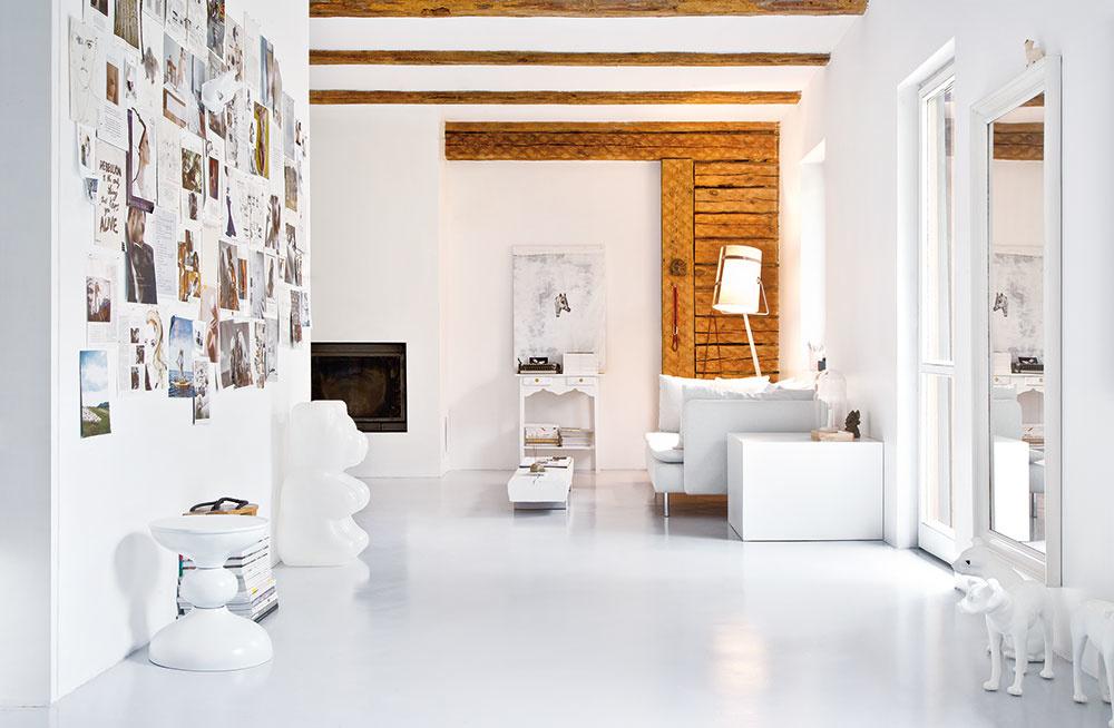 PRÍZEMIE DOMU tvorí jeden centrálny priestor, v strede ktorého sa nachádza schodisko vedúce do podkrovia. Na jednej polovici je kuchynská časť, kozub a oddychový kútik, na opačnej zasa obývacia časť s pohovkami.
