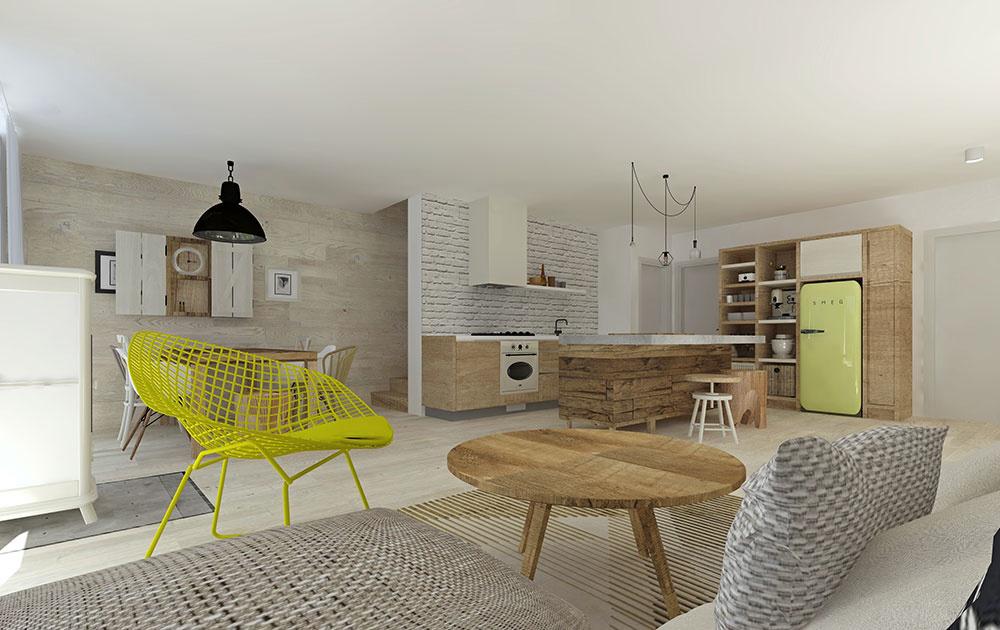 Návrh otvoreného prízemia, ktoré bude slúžiť ako kuchyňa, obývačka i jedáleň