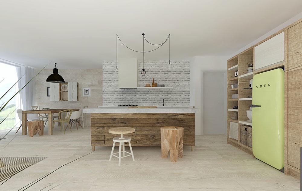 V objatí dreva. Celý priestor má útulný charakter vďaka prírodným materiálom. Masívnymi skrinkami, stolom i ostrovčekom s obložením dreva získava žiadaný etno nádych. Bielený dub v severskom štýle je navrhnutý nielen na podlahe, ale i na stene za jedálenským stolom a schodiskom.