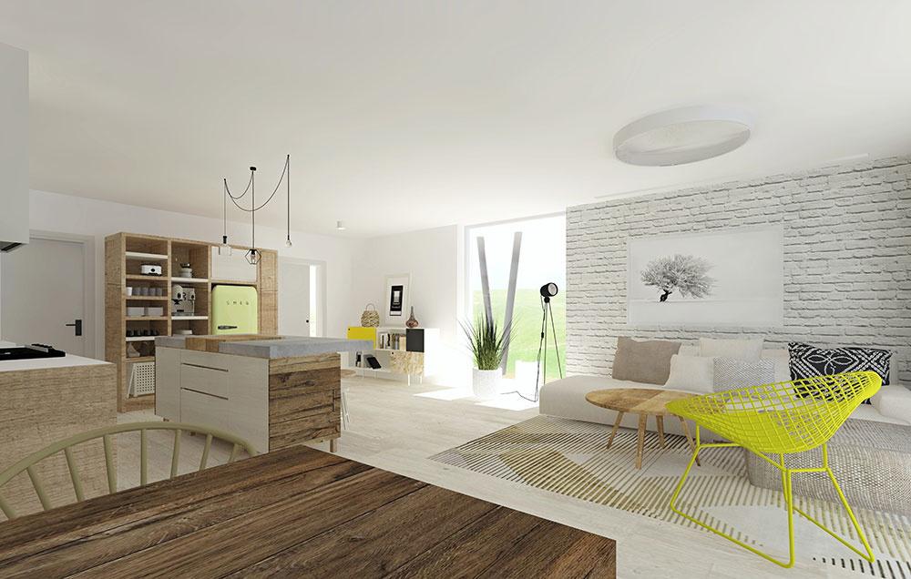Biela tehlová stena v časti obývačky vystupuje ako protiklad k teplým prvkom z dreva. Výrazné dizajnové kreslo spolu s chladničkou v žltých odtieňoch osviežujú prírodne ladený interiér. Jednotlivé zóny sú v dennom priestore čitateľné a vzájomne prepojené.