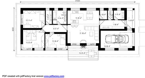 Projekt prízemného rodinného domu RM 167