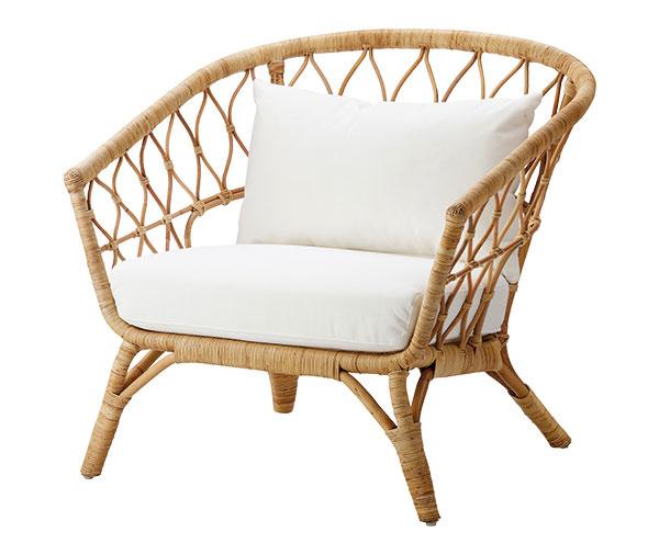 Stolička s poduškou Stockholm, prírodný ratan, 209 €, IKEA