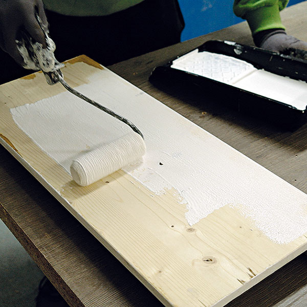 Po zaschnutí farby dvierka otočte azadnú stranu abočné hrany natrite bielou základnou farbou. Nechajte uschnúť.