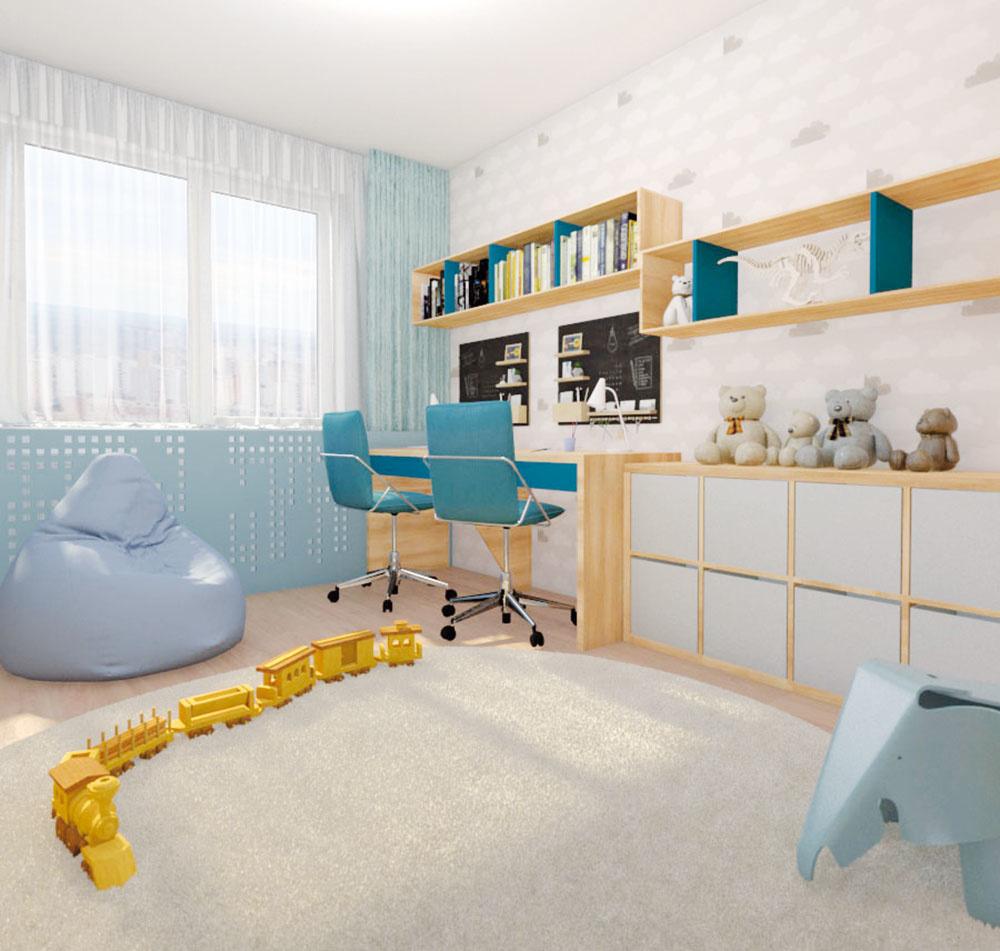 Hoci izba pre troch chlapcov nie je veľká, vďaka šikovnému využitiu stien zostal uprostred dostatočný priestor na hru a voľnú zábavu.
