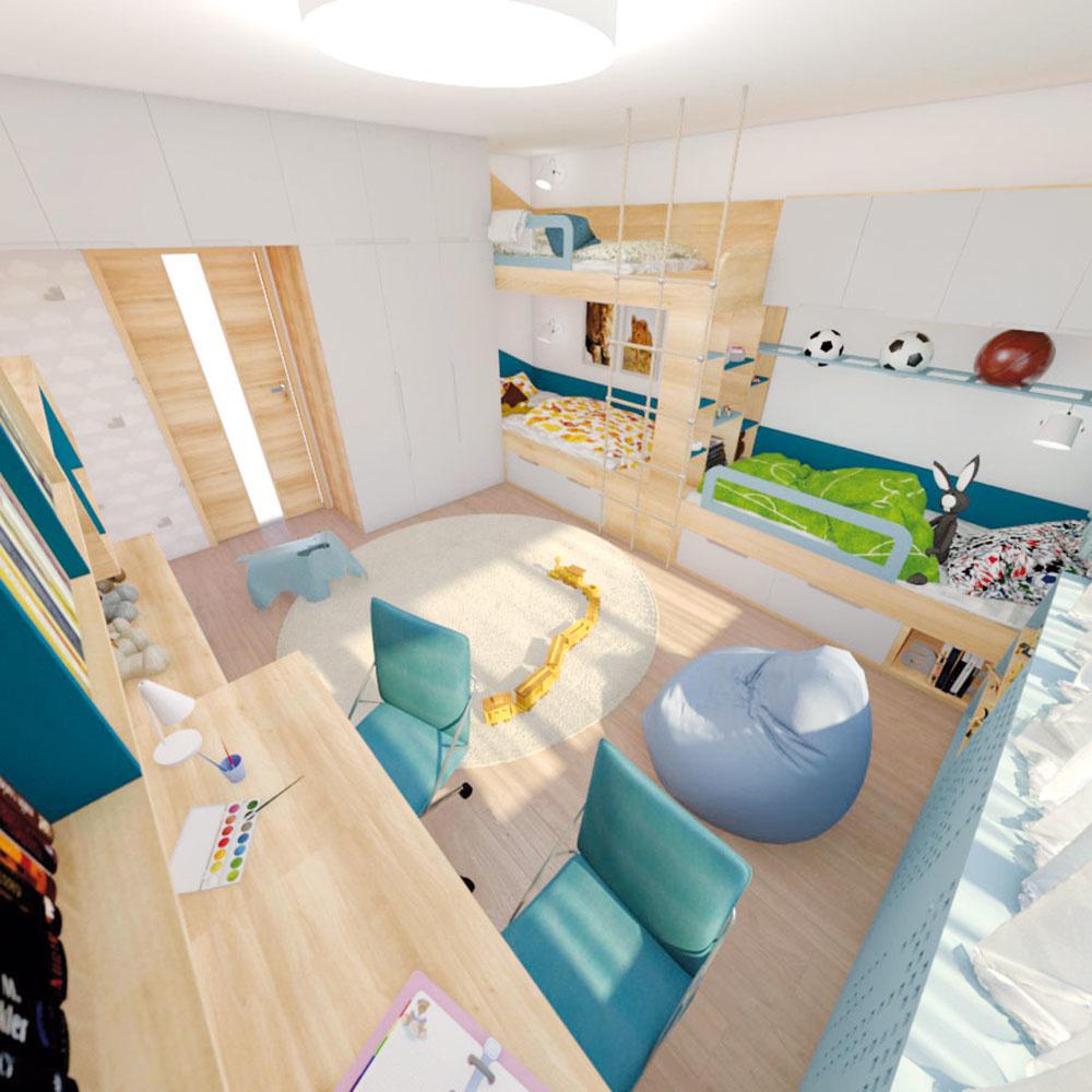 Posuvné dvere do detskej izby by síce boli pri dennom rytme praktickejšie, avšak architektka po zvážení navrhla otváravé, aby mali chlapci viac úložného priestoru.