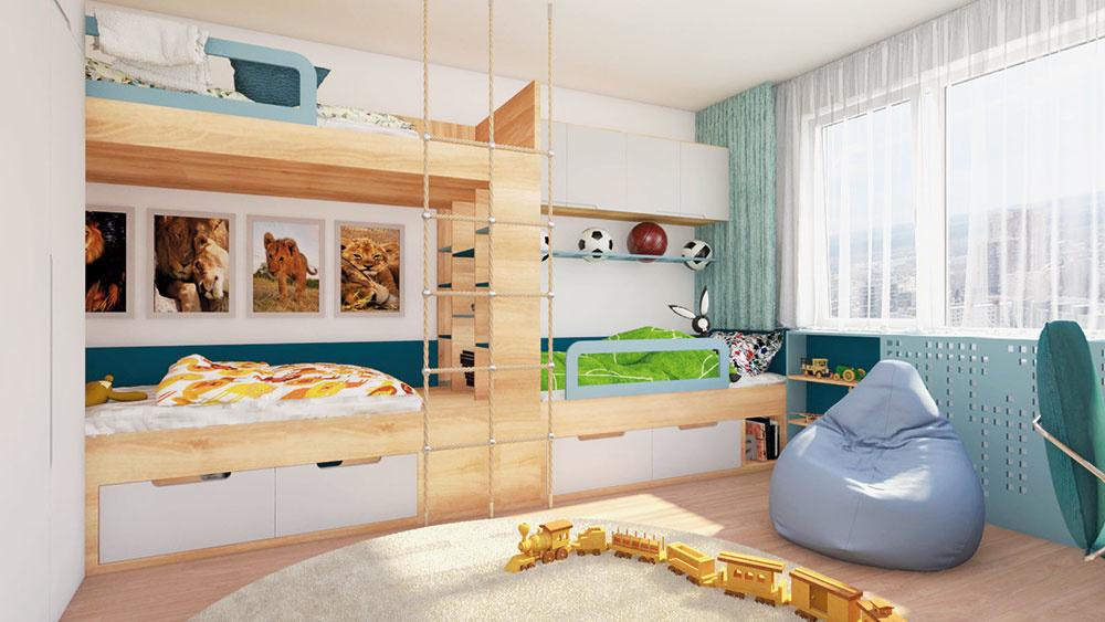 Poschodové postele poskytujú príjemné útočisko i niekoľko úložných priestorov. Hravé laná nahradili klasický drevený rebrík.