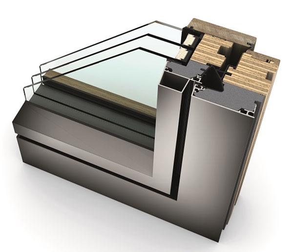 HF 410 rez drevo-hliníkového okna, pohľad zvonku v dizajnovom štýle Studio