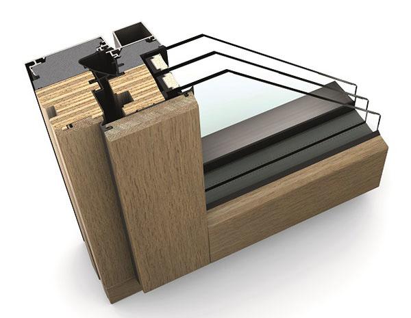HF 410 rez drevo-hliníkového okna, pohľad zvnútra v dizajnovom štýle Studio