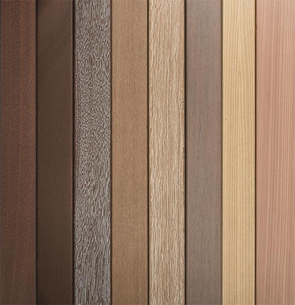 Prehľad úpravy povrchov a materiálov dreva- ako je dub, smrekovec, jaseň, smrek alebo orech, v ktorých je možné Internorm okná HF410 a HS 330 vyrobiť.