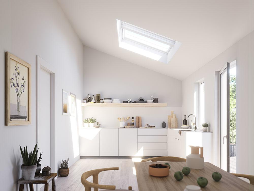 Kuchynská linka je najfrekventovanejšou pracovnou plochou v domácnosti. Cielené nasvetlenie pracovnej plochy prináša maximálny komfort pri príprave jedla. Veľmi účinná je aj prirodzená ventilácia cez vysoko umiestnené okná.