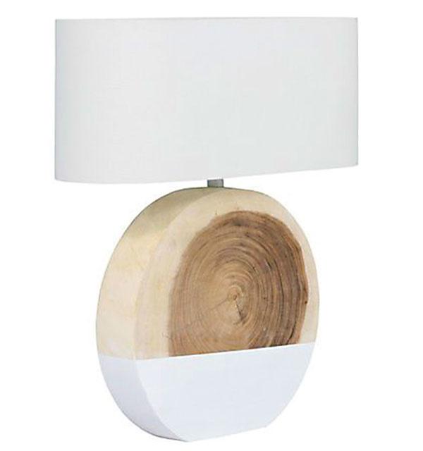 Stolová lampa NATURE – Chenaga, masívne drevo, 100 % ľan, 40 × 61 × 20 cm, 158 €, www.naturedecor.sk