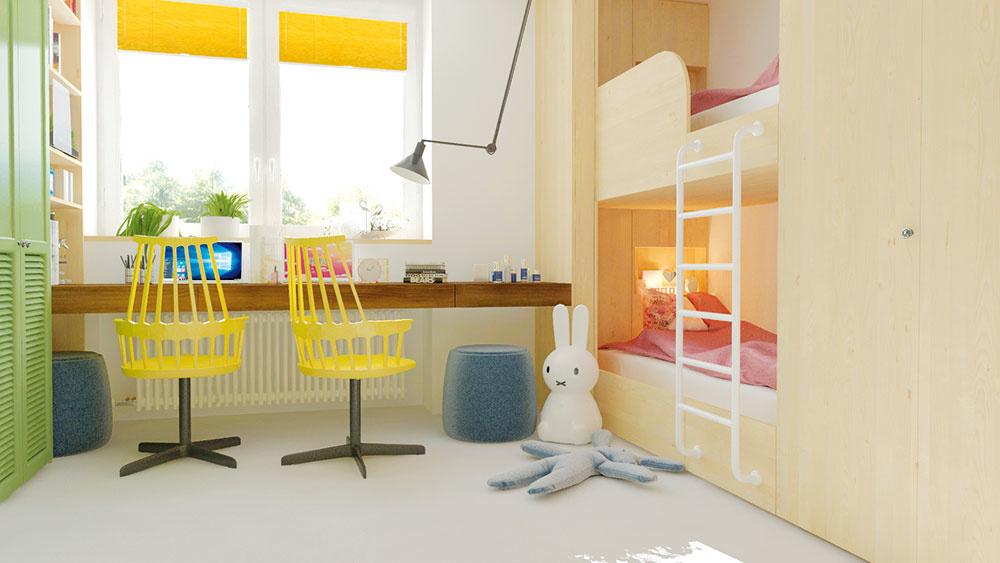 Pestré farby vnášajú do tmavšej izbičky jas a radosť. Žlté otočné kreslá a zelená skriňa veľmi nežne dotvárajú dievčenský charakter izby.