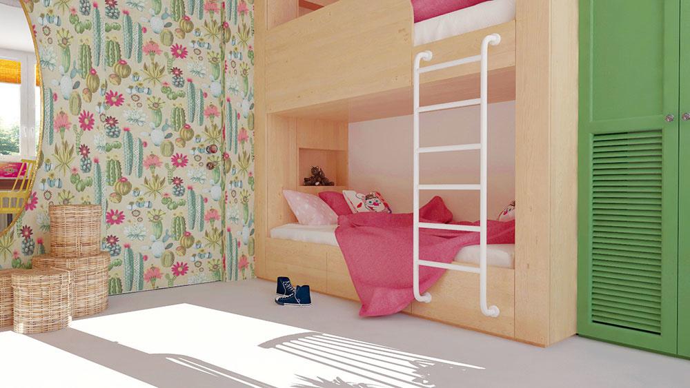 Výraznejším detailom či solitérom sa netreba vyhýbať ani v malých priestoroch. Dôležité je zjednotiť väčšinu ostatných plôch svetlým odtieňom. V dievčenskej izbe je týmto prvkom svetlé drevo a biela podlaha, ktoré dovolia vyniknúť napríklad vzorovanej tapete či veselým kreslám.