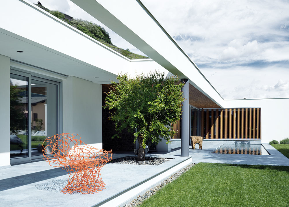 Dojem prelínania sa architektúry sokolím podporuje nielen hojne využité sklo, ale aj výrez vpresahu strechy pred hosťovským domčekom astrom, ktorý ním bude časom prerastať.