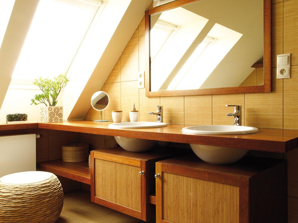 DREVO  Ide o ekologické riešenie, ktoré vytvára teplo a vnáša do priestoru priateľskú atmosféru. Myslite na to, že kúpeľňa je, čo sa týka vzdušnej vlhkosti a prítomnej vody, vysokonamáhaná, voľte preto najmä drevo s vyššou hustotou.