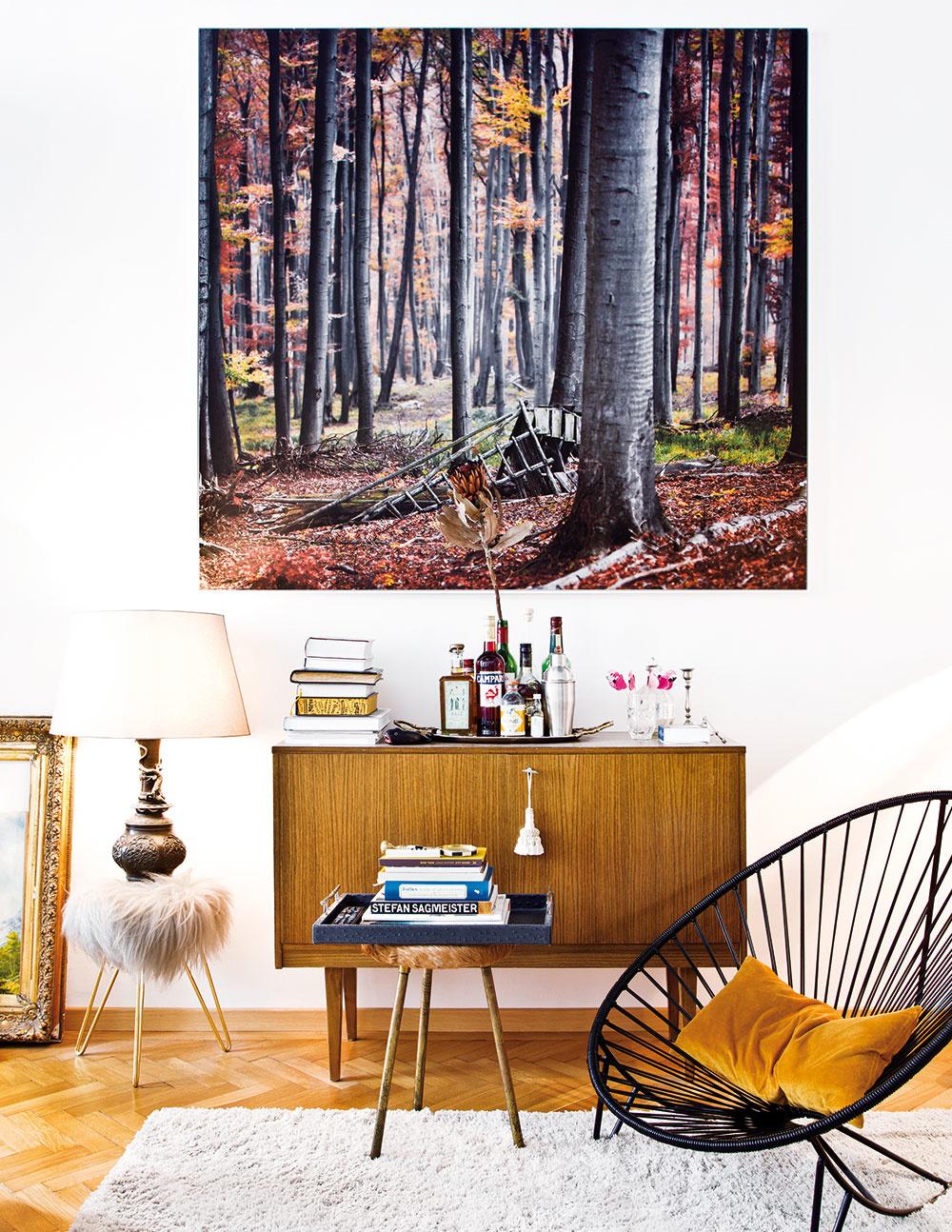 Byt našiel útočisko pre mnohé doplnky z rôznych štýlov. Okrem starožitností tu objavíte aj viaceré dizajnové kúsky, ktoré sa vzájomne skvelo dopĺňajú. Veľkoformátová fotografia lesa zasa prináša akýsi pokoj do tohto víru divokých dekorácií.