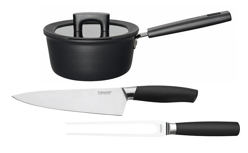1× Hrniec, nôž a servírovacia vidlička Fiskars