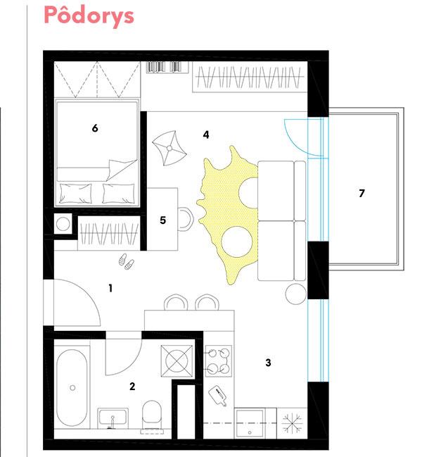 Pôdorys  1 chodba 2 kúpeľňa swc 3 kuchynský kút 4 obývačka 5 pracovný kút 6 spálňa 7 balkón