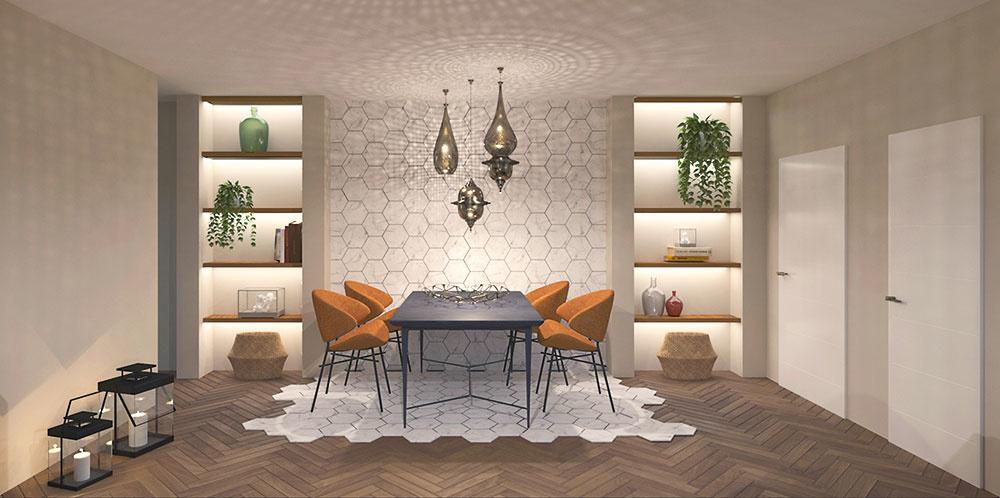 Jedálenská časť je ohraničená geometrickou dlažbou, ktorej vzor plynule nadväzuje na obklad na stene. Rozdiel materiálov opticky rozdeľuje miestnosť na dve zóny. Vstavané knižnice po oboch stranách šikovne odpútavajú pozornosť od otvoreného priestoru okolo stola.