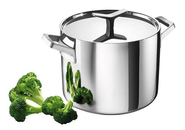Polievkový hrniec od značky Electrolux zkolekcie Infinite Chef Collection je navrhnutý pre indukčné varné panely, ako aj pre ostatné typy varných dosiek. Vhodný do umývačky arúry do 250 ºC. Rozmery: objem 9 l, priemer 24 cm, cena 150,76 €, zakúpite na www.shop.electrolux.sk.