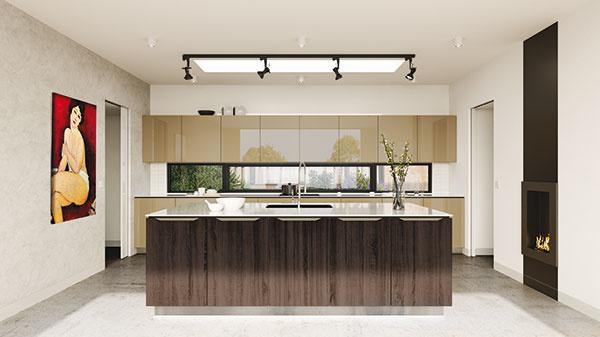 Dávate prednosť farebnejšej kuchyni? Jedľa kontrast z línie Wood Point z hladkého lamina. Skrinky predstavujú povrch hviezdny lesk z línie Glam Face v jemných a elegantných odtieňoch karneol, jaspis, jantár a achát.