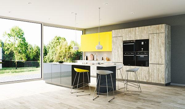 Vysoký lesk lemon, art dekor betón, sivý lesk. Tá správna žltá a tá správna sivá vo vašej kuchyni.
