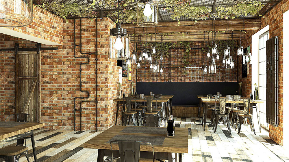 1. miesto: interiér reštaurácie, zvislý variant radiátora Zehnder Charleston s lakom Technoline