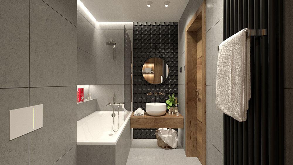 2. miesto: kúpeľňa, zvislý variant radiátora Zehnder Charleston vo farbe Black Matt