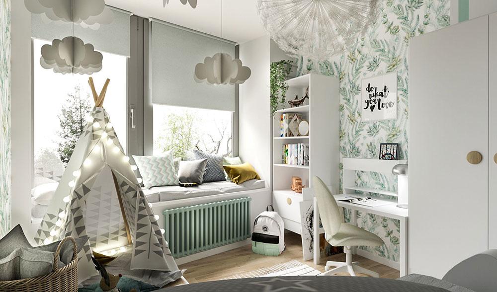 3. miesto: detská izba, radiátor Zehnder Charleston pod oknom, farba Lichen