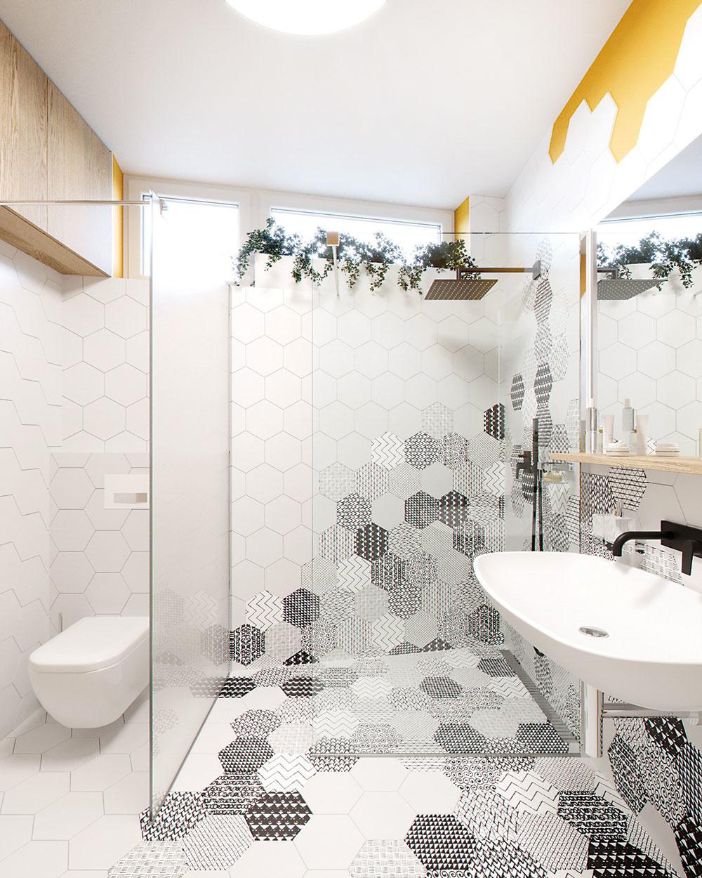 Walk-in sprchovací kút je ideálnym riešením aj pri atypickom pôdoryse. Deliacu priečku architekt vymenil za sklenú stenu acelý priestor získal na objeme.