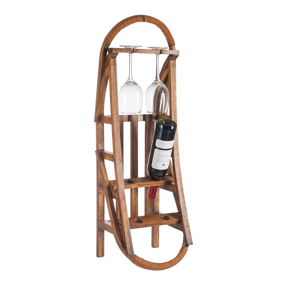 Stojan na víno v tvare zimných saní, borovicové drevo, 29 × 84,5 × 27 cm, 79,90 €, www.westwing.sk