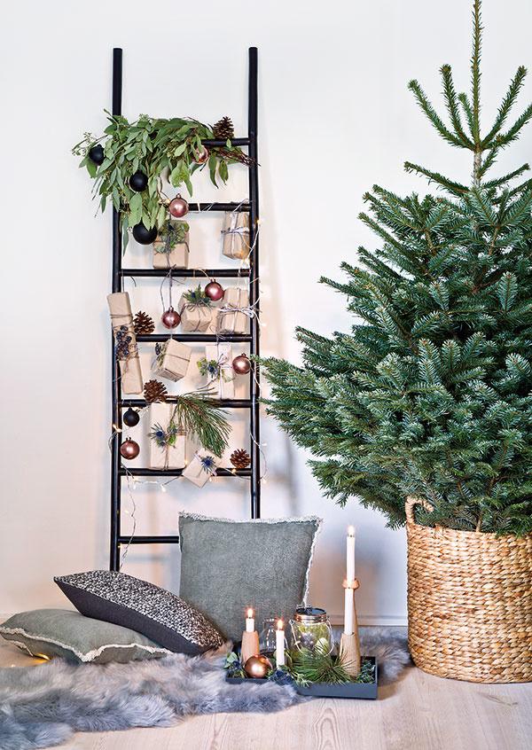 HOLÝ STROMČEK, ak je pekne urastený, hustý arovnomerný, niekedy stačí len vložiť do ratanového koša aozdoby použiť inde, napríklad na rebríku. Originálna apritom mimoriadne pôsobivá vianočná výzdoba je na svete.