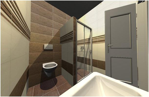 Vizualizácia menšej kúpeľne s praktickým riešením a teplými farbami. (www.v-kupelni.sk)