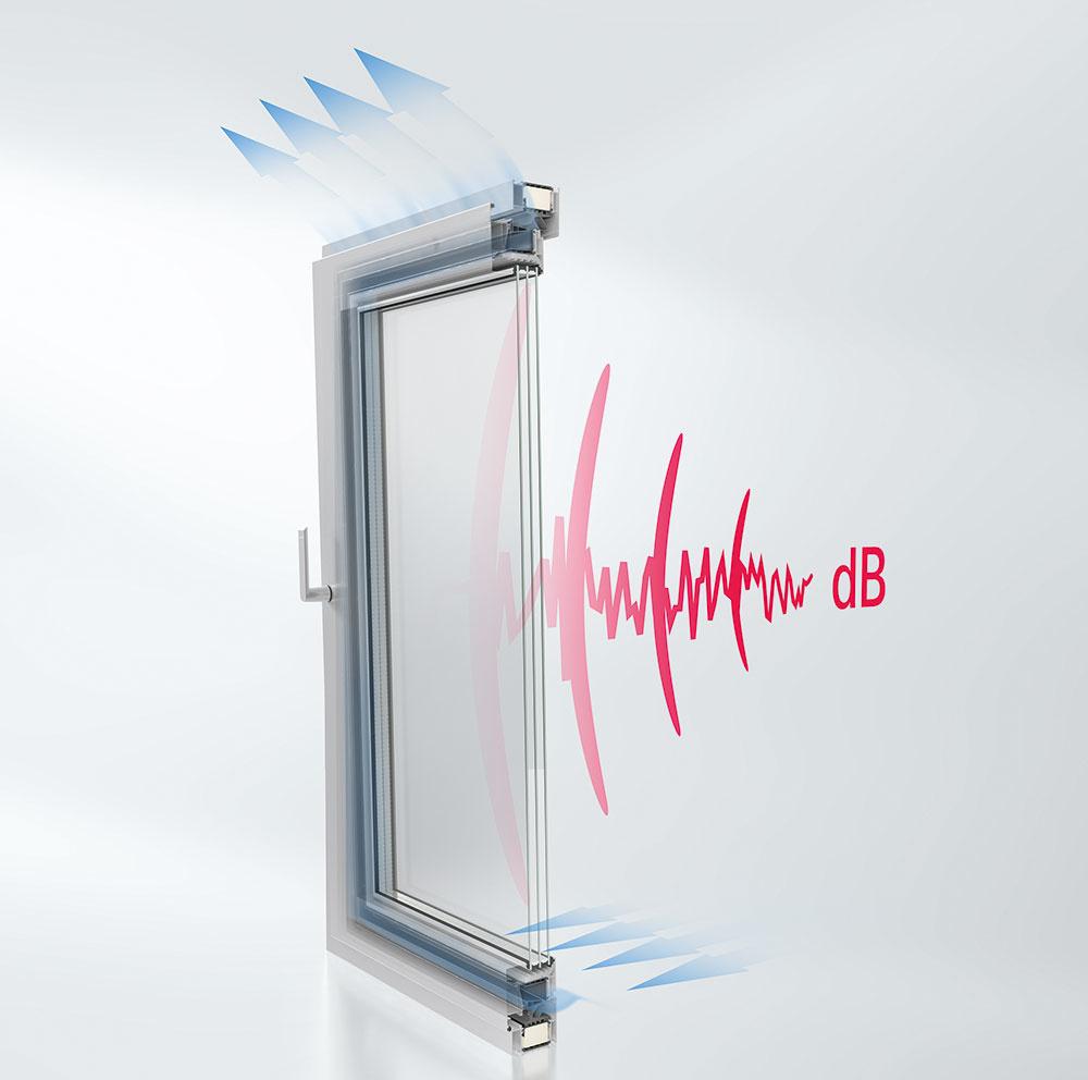Okenné riešenie AWS 90 AC.SI má špeciálne stredové tesnenie a vzduch prúdi cez krídlo, čím zabezpečuje zníženie zvuku v sklopenej otvorenej polohe.
