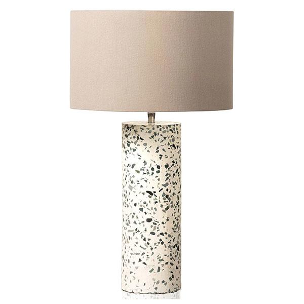 STOLOVÁ LAMPA s podstavcom z terazza a textilným tienidlom, výška 60 cm, priemer 18 cm, 69 €, www.oliverbonas.com