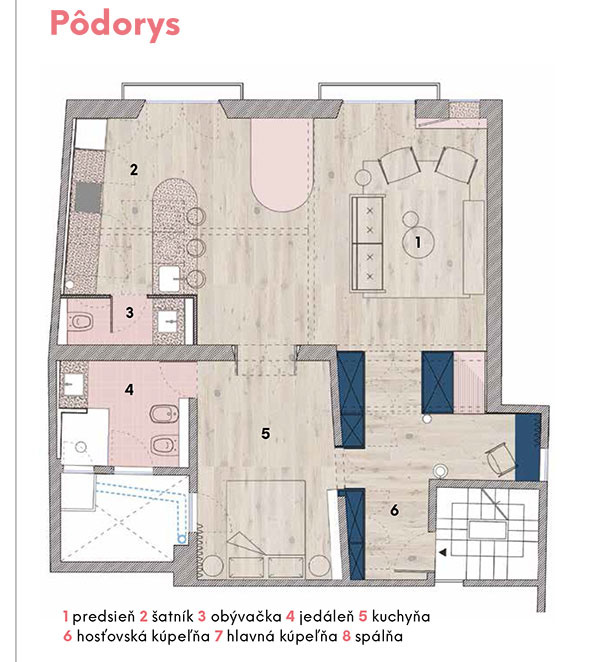 1 predsieň 2 šatník 3 obývačka 4 jedáleň 5 kuchyňa 6 hosťovská kúpeľňa 7 hlavná kúpeľňa 8 spálňa   zdroj Colombo and Serboli Architecture (CaSa)