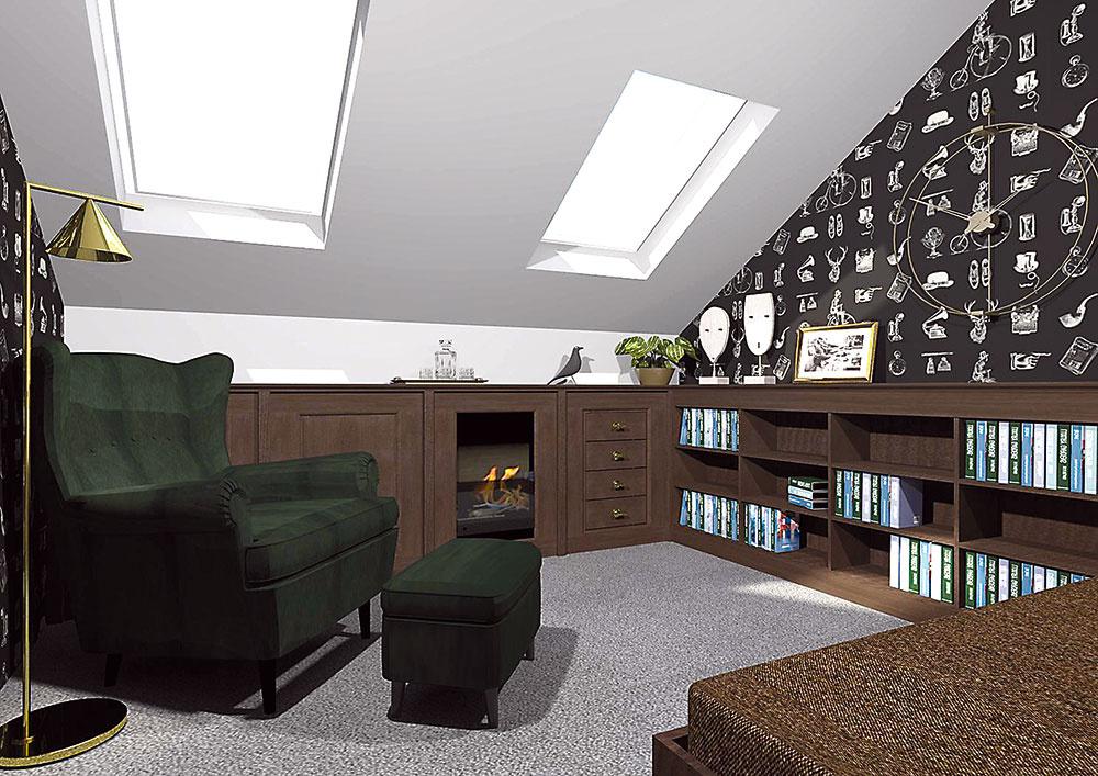 Biokozub zakomponovaný do nízkeho nábytku je nielen pôsobivý, ale zároveň prakticky prekrýva nepekný radiátor. Starožitné doplnky či rodinné fotografie umocnia celkový nostalgický nádych izby.