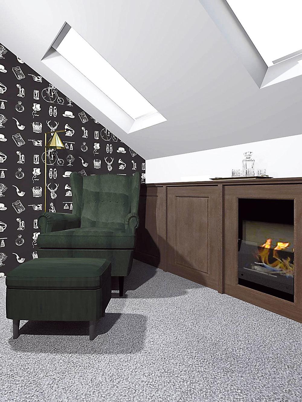 Zamatový zelený ušiak je pohodlným a zároveň pôsobivým doplnkom v anglicky ladenom interiéri. Intímne prítmie, štrnganie kokteilových pohárov a nostalgický hlas Franka Sinatru z reproduktora vytvoria priestor, v ktorom muž ľahko unikne z tohto sveta.
