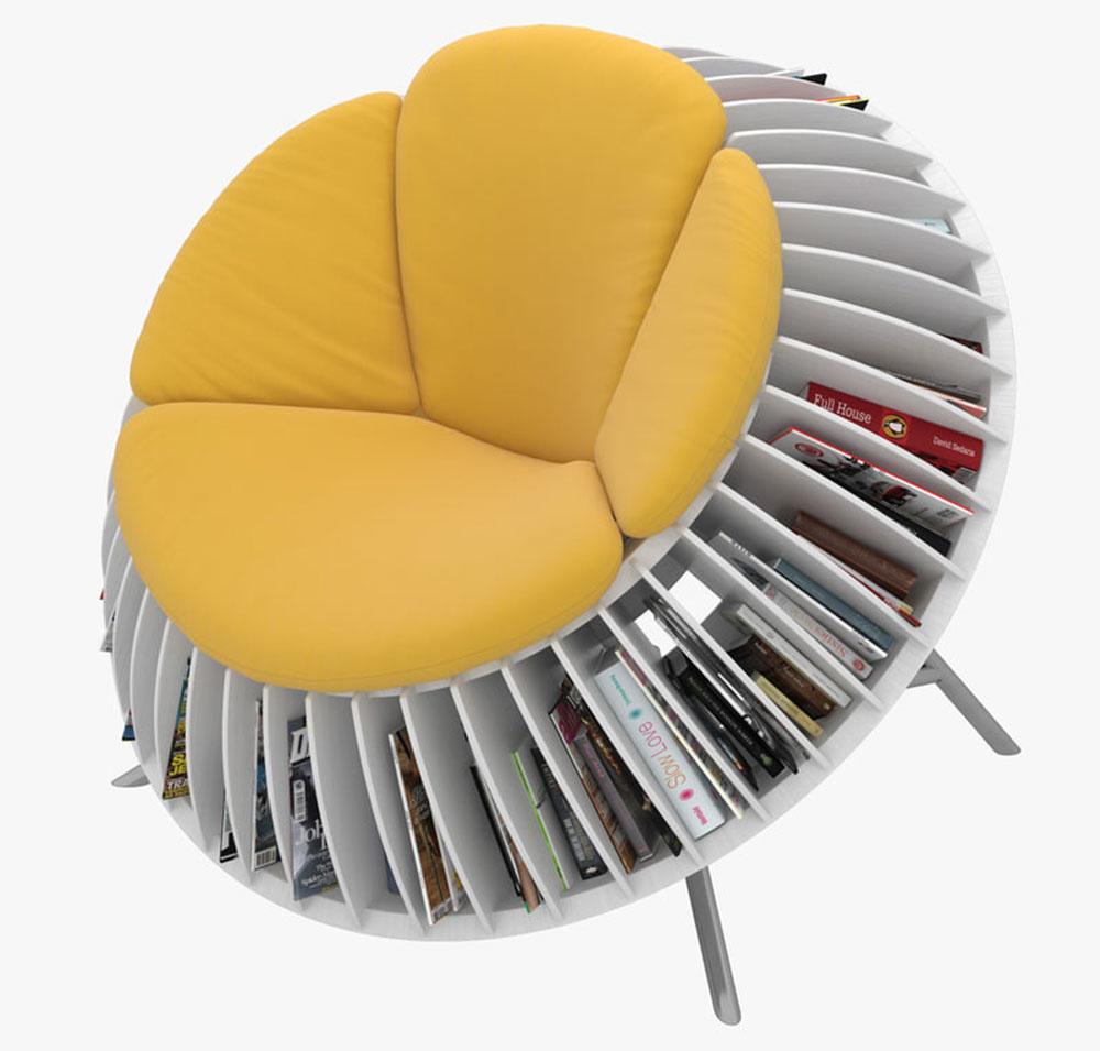 KNIŽNICA VKRESLE shravým názvom Slnečnicové kreslo je ideálnym doplnkom pre všetkých milovníkov kníh, ktorí nemajú priestor na masívnu knižnicu asvoje čitateľské poklady chcú mať vždy poruke. Dizajnéri He Mu aZhang Qian za ňu získali aj ocenenie vsúťaži odizajnové sedenie.