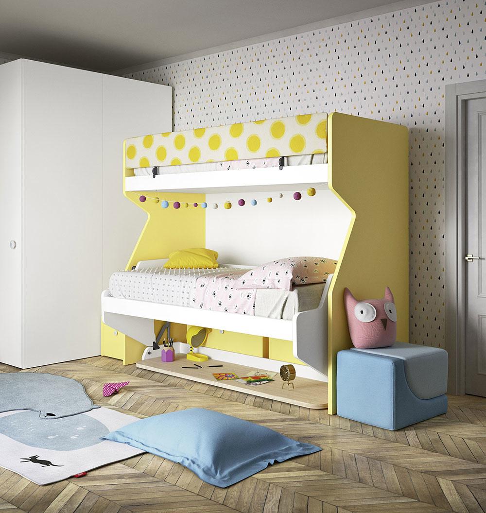 STÔL V POSTELI. Táto poschodová posteľ, ktorej spodné lôžko sa razom premení na písací stôl, sa zíde najmä v menších detských izbách, kde treba šetriť každým centimetrom. Je vyrobená z ekologických materiálov a vybrať si môžete z niekoľkých farieb. Viac informácií nájdete na www.space4kids.cz.